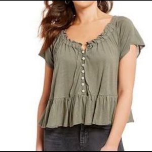 Olive Green Free People Short Sleeve Top Size S